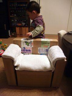 牛乳パックで作る子供椅子(子供ソファー) - On y vas !!! 2 ~ウータエータ育児日記~