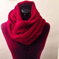 Red Knit Infinity Scarf