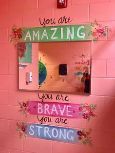 Murals in a middle school bathroom are inspiring girls to be kinder — both to themselves and others. School Hallways, School Murals, School Classroom, Classroom Decor, Bathroom Mural, Bathroom Stall, Bathroom Ideas, Bathroom Quotes, Bath Quotes
