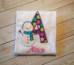 Snowman Initial shirt by KoutureKid on Etsy