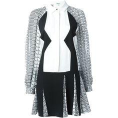 Kenzo Diagonal Stripes Shirt Dress (15.541.125 IDR) ❤ liked on Polyvore featuring dresses, black, longsleeve dress, shirt dress, long sleeve silk dress, pleated dress and silk shirt dress