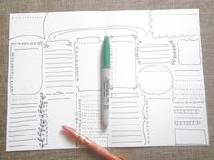 blank boxes bullet journal printable planner agenda layout template office home…