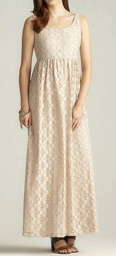 Taupe Crochet Sleeveless Maxi Dress