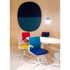 color blocking office spaces with Italian company Arper at the milan furniture fair via sightunseen Milan Furniture, Living Furniture, Furniture Design, Furniture Makers, Contemporary Chairs, Modern Dining Chairs, Corporate Interiors, Corporate Design, Italian Furniture