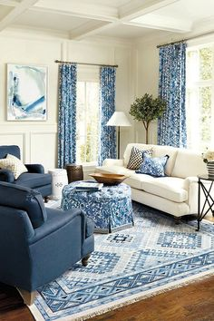 High Quality Astounding Blue Living Room Sets Chairs Sofa White Couch Dark Blue  Armchairs Blue Patterned Curtains White
