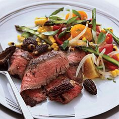 Grilled Flank Steak with Corn, Tomato and Asparagus Salad | MyRecipes.com