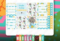 Kawaii- Cats -Kittens- Planner Stickers, Weekly Sticker Kit, Erin Condren Life Planner Stickers, Happy Planner Stickers by MoogleyandMe on Etsy