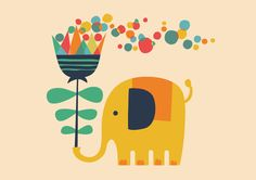 Poster | ELEPHANT WITH GIANT FLOW von Budi Kwan | more posters at http://moreposter.de