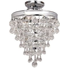 Beautifully accent any room and home decor by choosing this excellent Decor Living Milton Light Chrome Crystal Semi Flush Mount. Retro Ceiling Fans, Modern Led Ceiling Lights, Flush Mount Chandelier, Mini Chandelier, Chandelier Lighting, Home Decor Lights, Diy Home Decor, Dimmable Led Lights, Hanging Crystals