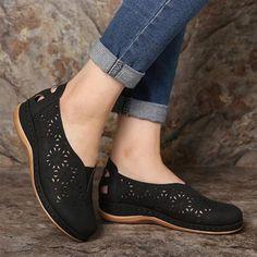 Black Sandals, Wedge Sandals, Wedge Shoes, Black Shoes, Women's Shoes, Summer Sandals, Retro Heels, Women's Slip On Shoes, Platform Shoes