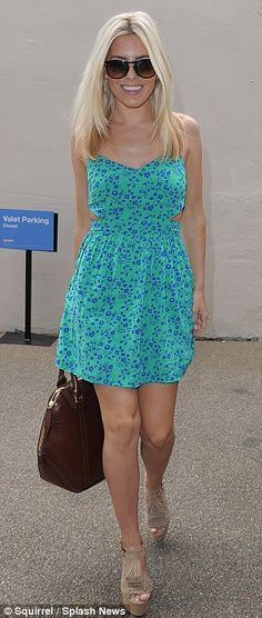 Summery: Mollie King wore a pretty green and blue sundress with side cut-outs