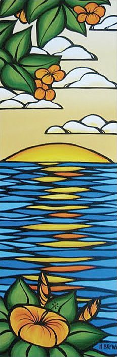 Heather Brown plumeria sunset Cool for stained glass Heather Brown Art, Summer Painting, Surfing Painting, Surfboard Art, Surfboard Painting, Posca Art, Hawaiian Art, Sunset Art, Surf Art