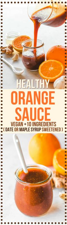 This Healthy Orange Sauce Recipe tastes better than takeout, but is refined sugar free! #orangesauce #healthy #glutenfree #plantbased #orange #chinese #takeout via frommybowl.com