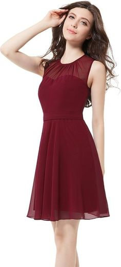 Ever Pretty Womens Sleeveless Illusion Neckline Short Party Dress 6 US Burgundy