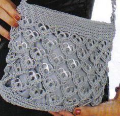 Bildergebnis für carteras con flores tejidas a crochet Soda Tab Crafts, Can Tab Crafts, Crochet Designs, Crochet Patterns, Pop Top Crafts, Pop Tab Purse, Sacs Tote Bags, Pop Can Tabs, Soda Tabs