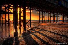 Sunlight underneath the pier in Blackpool, Lancashire, England