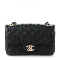 CHANEL Caviar Quilted Mini Rectangular Flap Black 160199