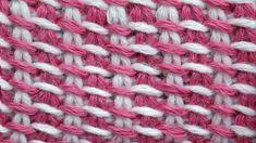 Tunisian crochet pattern   Двухцветный тунисский узор вязания   2