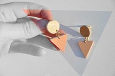 triangle and circle earrings peach & gold by TriAndGull on Etsy, $18.00