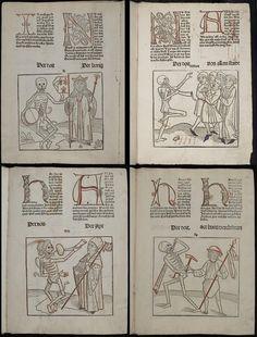 "4 figures from danse macabre genre ""The Dance of Death or 'Le Danse Macabre' or 'Totentanz' or 'la Danza de la Muerte' was an artistic response across Europe to the devastation brought about by the plague or black death."""