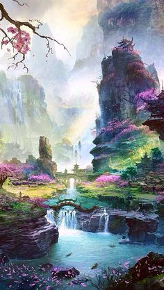 Pagoda in background & color landscape art