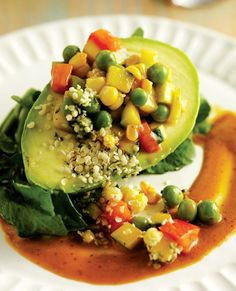 Stuffed Avocado Salad with Chipotle Vinaigrette - a satisfying lunch that keeps the calories in check.