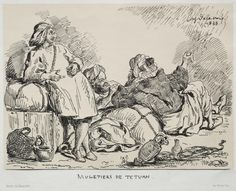 Cleveland Museum of Art Muleteers of Tétuan, 1833 Eugène Delacroix (French, 1798-1863) lithograph with beige tint stone, Sheet - h:31.40 w:44.80 cm (h:12 5/16 w:17 5/8 inches) Image - h:19.30 w:26.60 cm (h:7 9/16 w:10 7/16 inches). Mr. and Mrs. Charles G. Prasse Collection 1961.142