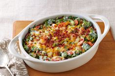Get cheesy with our Creamy Broccoli-Bacon Bake! In under an hour, you and your family can enjoy this Creamy Broccoli-Bacon Bake filled with deliciousness. Broccoli Bake, Broccoli And Cheese, Broccoli Casserole, Broccoli Cheddar, Broccoli Patties, Carrot Casserole, Broccoli Salad, Kraft Foods, Kraft Recipes