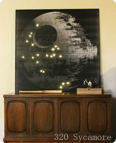 DIY Death Star art to rival the much pricier version from Pottery Barn kids!