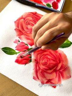 Watercolor Paintings For Beginners, Watercolor Art Lessons, Watercolor Techniques, Watercolor Flowers Tutorial, Flower Tutorial, Simple Watercolor Flowers, Flower Drawing Tutorials, Diy Canvas Art, How To Paint Roses