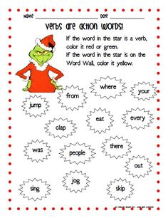 We are on the countdown to the holiday break and we're kicking off the holiday season with a Dr. Seuss classic - How the Grinch Stole . Le Grinch, Grinch Who Stole Christmas, Grinch Party, Grinch Stuff, Christmas Stuff, Christmas Projects, Christmas Ideas, Dr Seuss Week, Action Words
