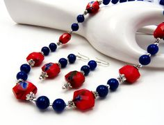 Bridesmaid Necklace, Navy Blue and Red Necklace Set, Bridal Jewelry, Blue Jade Bridesmaid Jewelry, Pearl Necklace, Bridesmaid Gift,