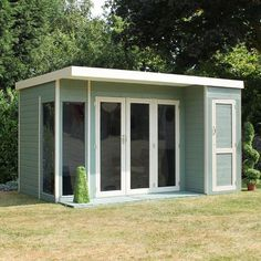 12 x 8 Waltons Contemporary Summerhouse with Side Shed on Walton Garden Buildings Croffice (Craft Office) This Waltons Contemporary Summerhouse is perfect for the warmer weather. Modern and practical, ideal for the family garden. Contemporary Summer Houses, Contemporary Garden Rooms, Diy Shed Plans, Storage Shed Plans, Bike Storage, 12x8 Shed, Plastic Sheds, Metal Shed, Backyard Sheds