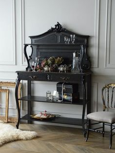 antique furniture interior home decor France french shelf アンティーク 家具 インテリア フランス フレンチアンティーク ブラックペイント シェルフ French Interior, Interior Exterior, Black Is Beautiful, Antiques, House Styles, Desk, Furniture, Home Decor, Fashion