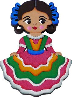 Based on the regional dress style from the Guadalara, Jalisco. Mexican Birthday, Mexican Party, Traditional Mexican Dress, Traditional Dresses, Cute Disney Drawings, Cute Drawings, Beautiful Drawings, Beautiful Dolls, Mexico Dress