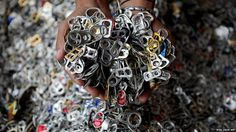 Push-tabs from aluminium cans for high end fashion items at the Phillipine Christian Foundation in Manila.