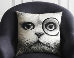 Monocle Cat Cushion by  Rory Dobner  pillows