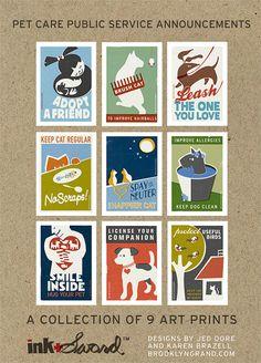 Pet Public Service Announcement Art Print Collector's Box Set - Original Illustration - 9 Art Prints $55