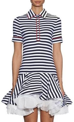 'Breton-Striped' Ruffle Dress-Black & White