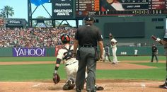 It is a testament to Buster Posey's abilities that he didn't nail Jake Peavy in the head on this throw during Saturday's game.
