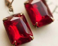 Pendientes fucsias joyería rosa pendientes Vintage cristal