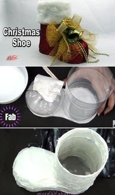 Weihnachten Basteln: Diy Plastikflasche Santa Boots Holder Tutorial – Video Christmas crafts: DIY plastic bottle Santa Boots Holder Tutorial – Video easy diy christmas crafts for kids – Kids Crafts Christmas Shoes, Christmas Crafts For Kids, Christmas Art, Christmas Ornaments, Santa Crafts, Christmas Island, Recycled Christmas Decorations, Easy Ornaments, Christmas Gifts