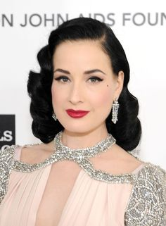 687b8c799b72 Dita Von Teese Evening Dress - Dita Von Teese Looks - StyleBistro Retro  Hairstyles