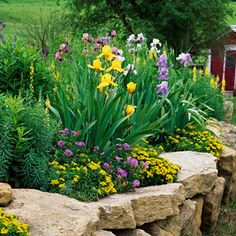 dry stack walls around flower beds