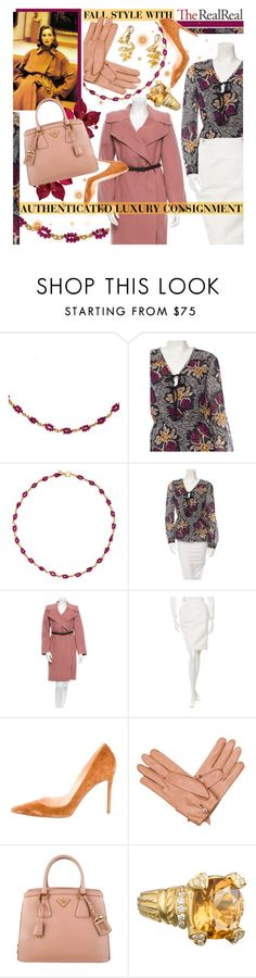 """Fall Style With The RealReal: Contest Entry"" by virtual-closet-collector ❤ liked on Polyvore featuring Reinstein/Ross, Tory Burch, Marc Jacobs, Ports 1961, Christian Louboutin, Prada and Judith Ripka"