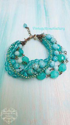 Turquoise Bracelet, #VintageRoseGallery, #etsy  Aqua Multi Strand Bracelet, Aqua  6 strands Beaded Bracelet,  Sea Foam Bracelet