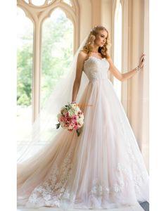 Rectangulaire Organza Gradins Robes de mariée Designer