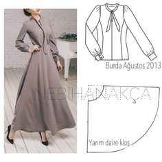 No photo description available. Modest Fashion, Hijab Fashion, Fashion Dresses, Sewing Clothes, Diy Clothes, Abaya Pattern, Evening Dress Patterns, Blog Couture, Modest Wear