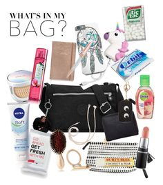 """What's in my bag"" by mony-nymo on Polyvore featuring Kipling, Burt's Bees, Humble Chic, Anya Hindmarch, Nivea, Balmain, Swarovski and Forever 21"