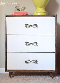 turn a plain chest of drawers into modern pieces that will add beautiful storage to any home. As an alternative to the first look, stain the frame and paint the drawer fronts. And then add modern legs and your choice of handles.
